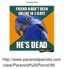 Paranoid Parrot Memes - paranoid parrot friend hasn t been online in a days he s dead