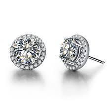 diamond stud earrings for women wholesale earrings stud 2ct halo style synthetic diamonds