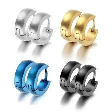 earrings mens aroncent 4 pairs plain stainless steel hinged hoop mens huggie