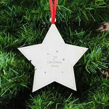 personalised 1st christmas star tree decoration