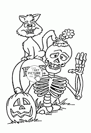 Kids Coloring Pages Halloween by Skeleton And Black Cat Coloring Pages For Kids Halloween
