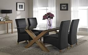 Luxury Glass Dining Table Luxury Squarenglass Dinning Table And Black Wood Chair
