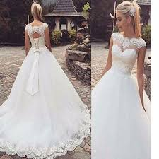 new wedding dresses sweetheart cap sleeve clairvoyant lace bow knot