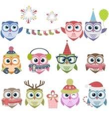 cute owl christmas cartoon set royalty free vector image