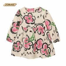 Hot Sale JOMAKE Girls Dress 2018 Autumn Kids Clothes Ink Floral