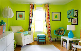 baby nursery with stripes curtain and lime green wall color