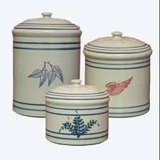 kitchen counter canisters 3 crock canister set wing stoneware pottery