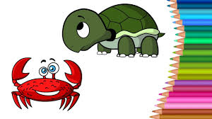 crab coloring pages for kids learn colors for kids drawing