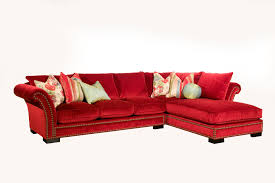 velvet sectional sofa l shaped red velvet sectional sofa with back and brown stitching