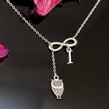 infinity necklace with initials owl infinity necklace with optional initial