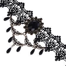 black bead collar necklace images Vintage gothic jewelry black lace necklaces women ladies wedding jpg