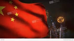 China Flags 1195 Fireworks Celebration Communist China Flag Sunset