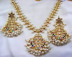 small stone necklace images Long colored kundan stone crafted small pearl drops necklace at rs jpg