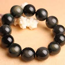 beaded bracelet sterling silver images Natural obsidian beads charms 925 sterling silver bracelet jpg