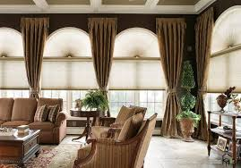 Curtains For Palladian Windows Decor Awesome Big Arched Windows Design With Shades And Brown Ruffled