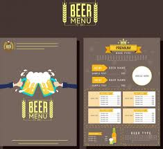 beer menu template classical brown design glasses icon free vector