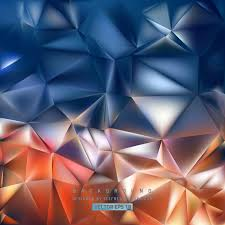 abstract navy blue and orange polygon triangle pattern background