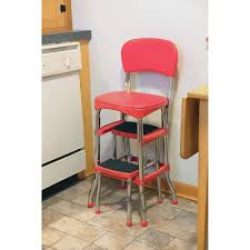 step stool w chair portable ladder retro chair step stool red or