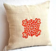 Burlap Decorative Pillows Burlap Pillows With Obi Inspired Flower Embroidery Orange