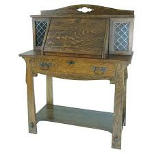 Antique Drop Front Secretary Desk by B411 Antique Solid Tiger Oak Mission Arts And Crafts Drop Front