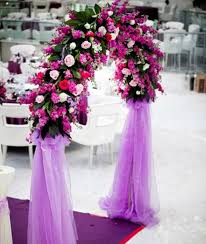Wedding Arches Decorated With Tulle White Wedding Dress And Purple Flowers Purple Picture