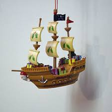 ornament pirate ship resin mingles