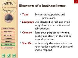 Business Letter Language m3 formal writing business letters