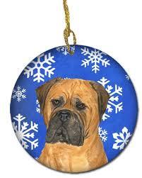 bullmastiff winter snowflakes ceramic ornament