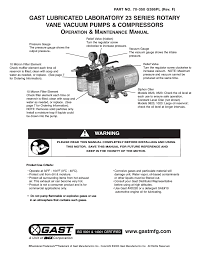 gast 0523 series lubricated laboratory vacuum pumps and