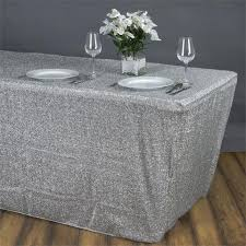 spandex table covers wholesale 6 ft silver glittering shiny rectangular metallic spandex table