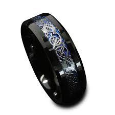 black and blue wedding rings 8mm black tungsten carbide engagement ring silvering celtic