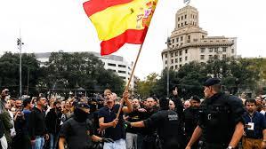 Barcelona Spain Flag Spanish Police Violence In Barcelona Inflames Catalonia And Shocks