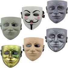 v for vendetta mask halloween full face mask abs plastic mask