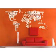 World Map Wall Sticker by Large World Map Wall Decal Sticker