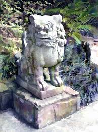 lion dog statue japanese garden lion dog statue 2 painting by elaine plesser