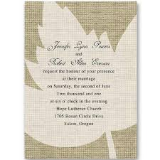 burlap wedding invitations rustic burlap and maple leaf wedding invitations ewi250 as low as