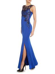 lipsy foil lace top maxi dress in blue lyst