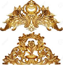 golden baroque isolated on white background stock photo picture