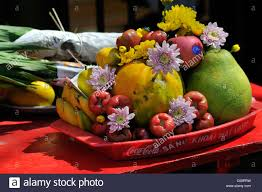 fruit and flowers sacrificial offering fruit and flowers at the largest and most