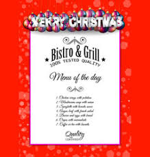 menu special christmas dishes design royalty free vector