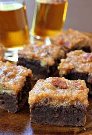 chewy brownies with a whiskey bacon topping for