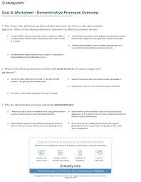 quiz u0026 worksheet demonstrative pronouns overview study com