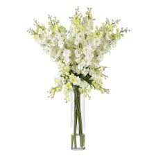 white floral arrangements nearly delphinium silk flower arrangement in white