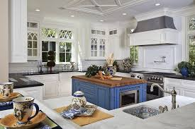 traditional kitchen island kitchens blue as a color never fails in both modern and