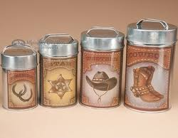 western kitchen canister sets 4 pc rustic western cowboy tin kitchen canister set for the