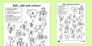 roll colour activity sheet