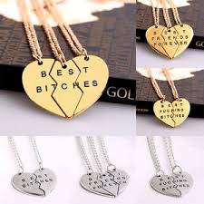 best bitches forever chain pendant necklace gifts bff broken