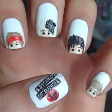 5 seconds of summer logo cattoon nail art 5sos rock star nail