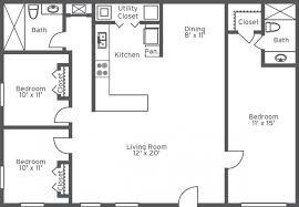 Floor Plan Of Two Bedroom House Two Bedroom One Bath Apartments