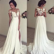 vintage summer wedding dresses vintage chiffon wedding dress summer white cap sleeves v